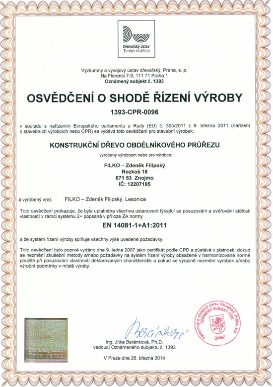 Zdeněk Filipský - FILKO | Certifikáty